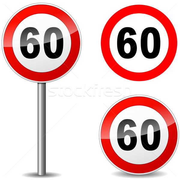 вектора шестьдесят знак регулирование белый дороги Сток-фото © nickylarson974