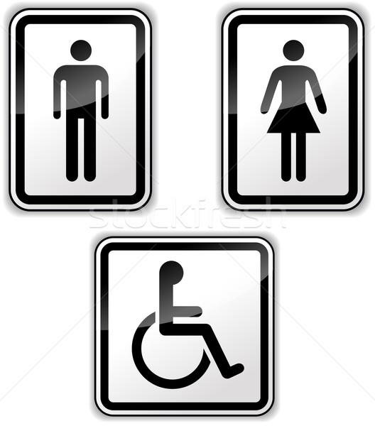 Vettore umani segni genere disabili bianco Foto d'archivio © nickylarson974