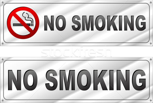 Vector no smoking chrome sign Stock photo © nickylarson974