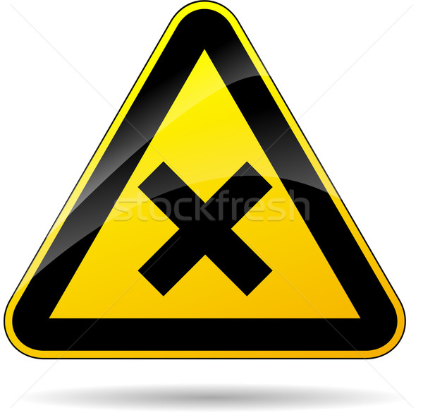 cross warning sign Stock photo © nickylarson974