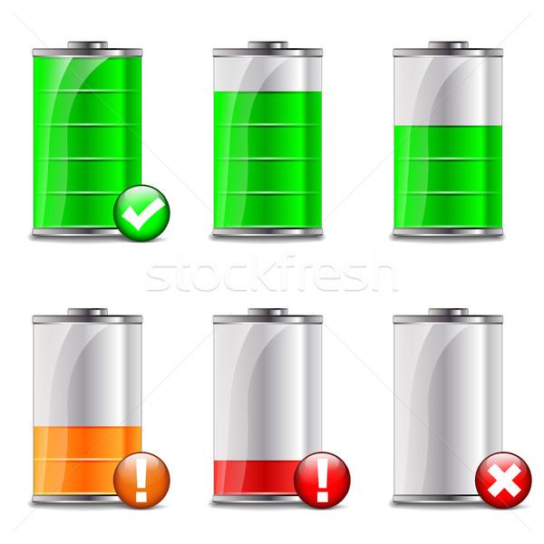 Batterij niveau iconen illustratie witte glas Stockfoto © nickylarson974