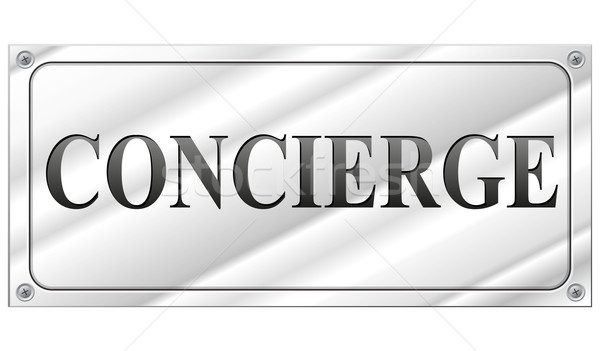 Vecteur concierge signe rectangulaire blanche affaires Photo stock © nickylarson974