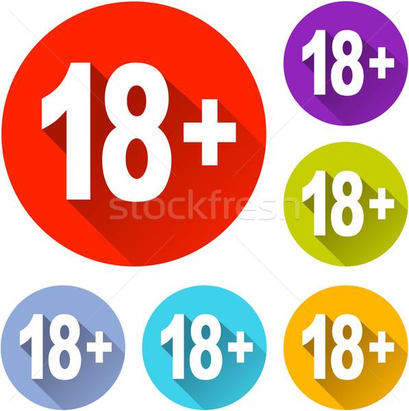 Osiemnastu ikona sześć kolorowy projektu podpisania Zdjęcia stock © nickylarson974