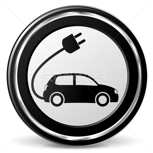 Vecteur voiture électrique icône noir chrome technologie Photo stock © nickylarson974