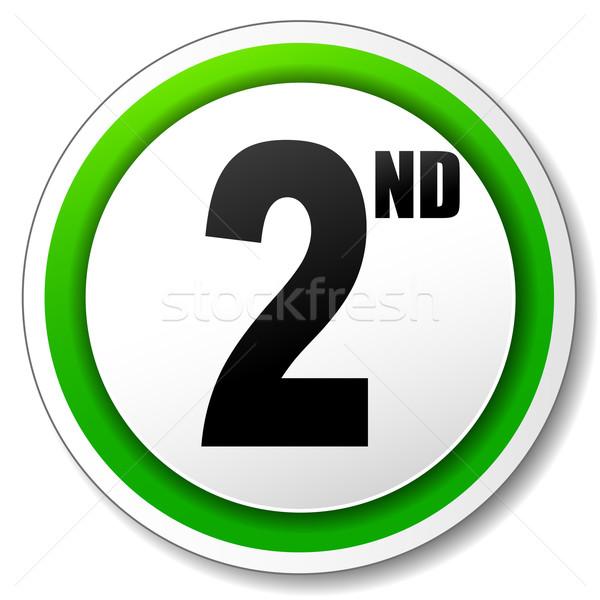 Vecteur deuxième icône blanche vert succès Photo stock © nickylarson974