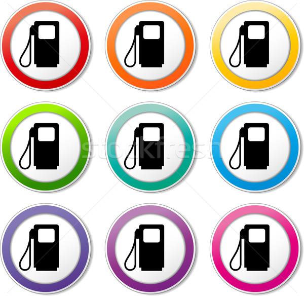 Benzinpumpa ikonok illusztráció különböző színek szett Stock fotó © nickylarson974