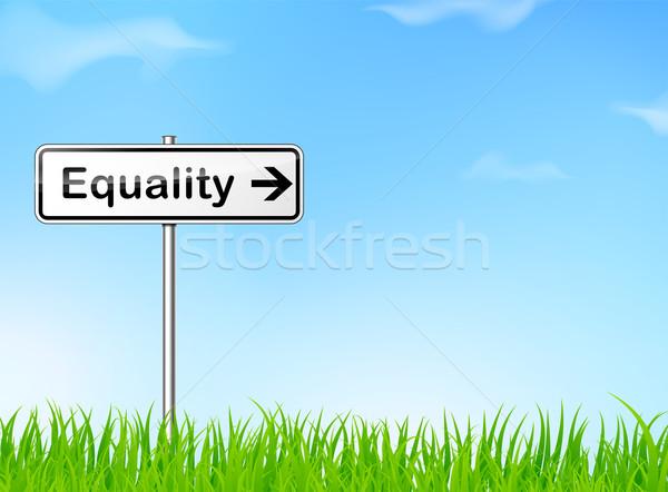 Egyenlőség felirat illusztráció természet út kék Stock fotó © nickylarson974