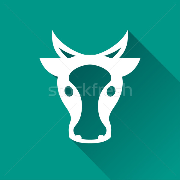 Vache icône illustration ombre visage design Photo stock © nickylarson974