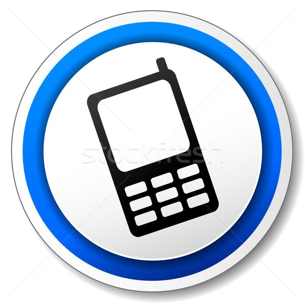 вектора мобильного телефона икона черный синий дизайна Сток-фото © nickylarson974