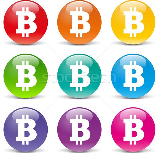 Wektora bitcoin ikona zestaw biały ceny Zdjęcia stock © nickylarson974