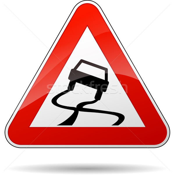 Vector slippery road sign Stock photo © nickylarson974