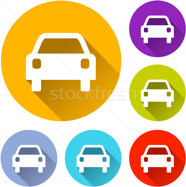 автомобилей иконки шесть красочный дизайна оранжевый Сток-фото © nickylarson974