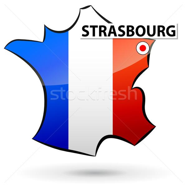 Stock fotó: Francia · ikon · illusztráció · térkép · terv · kék