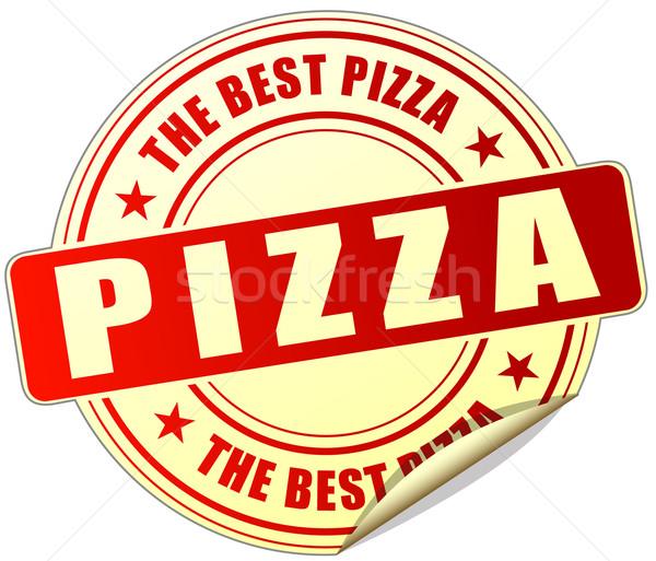 Сток-фото: пиццы · красный · наклейку · иллюстрация · белый