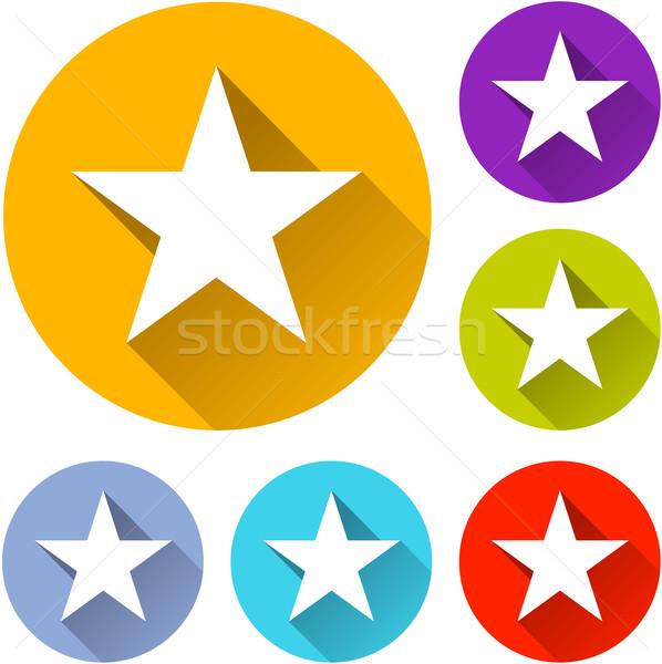 Star ikona sześć kolorowy projektu podpisania Zdjęcia stock © nickylarson974