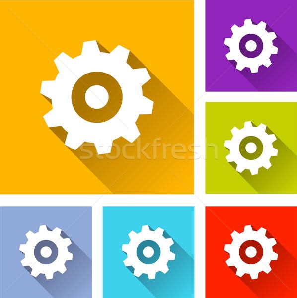 Gear иконки иллюстрация красочный квадратный Сток-фото © nickylarson974