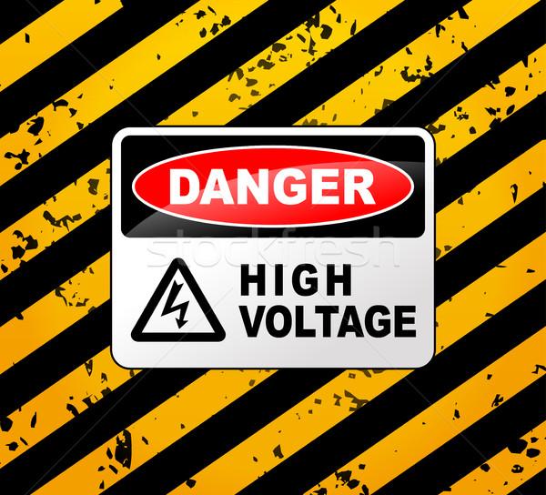 Сток-фото: высокое · напряжение · знак · иллюстрация · дизайна · фон · безопасности