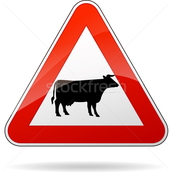 Vacas ilustração carro projeto assinar Foto stock © nickylarson974