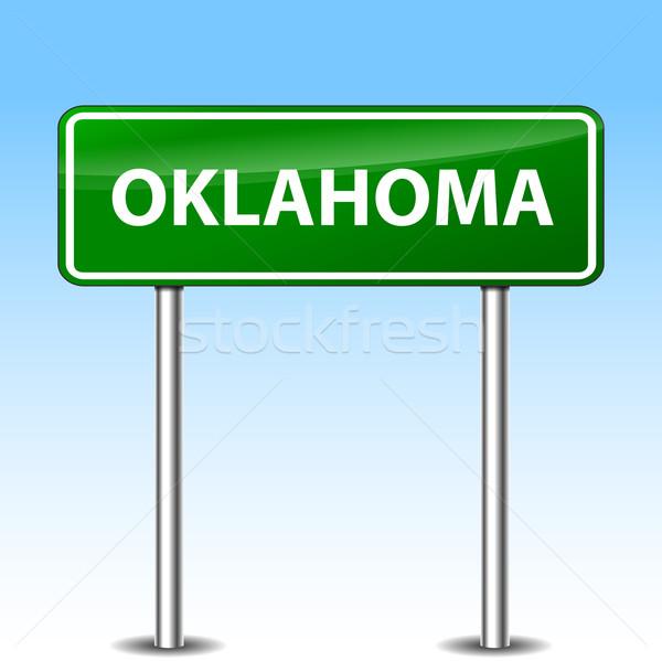 Oklahoma groene teken illustratie metaal verkeersbord Stockfoto © nickylarson974