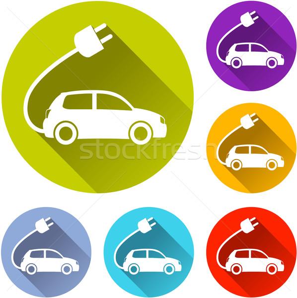 Elektrische auto iconen illustratie witte ontwerp silhouet Stockfoto © nickylarson974