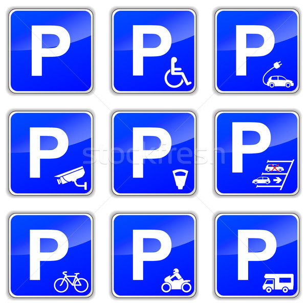Parking signes illustration blanche voiture rue Photo stock © nickylarson974