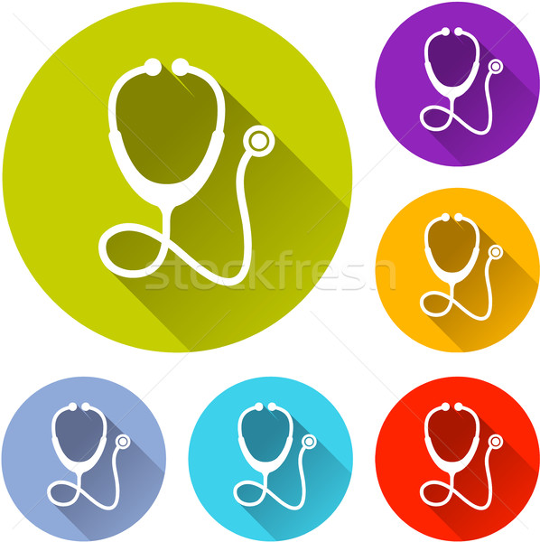 Altı stetoskop simgeler örnek gölge doktor Stok fotoğraf © nickylarson974
