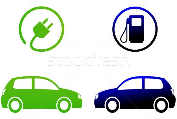 Elektrische auto witte auto auto teken groene Stockfoto © nickylarson974
