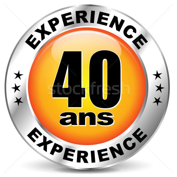 Vector experiencia etiqueta icono francés traducción Foto stock © nickylarson974