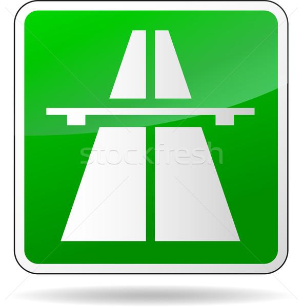 Zielone autostrady podpisania ilustracja biały samochodu Zdjęcia stock © nickylarson974