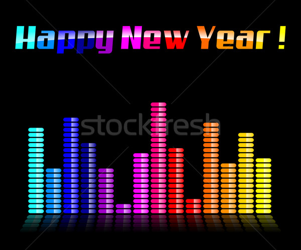 Stock photo: happy new year black background