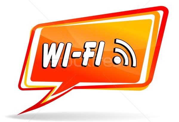 wifi design orange speech Stock photo © nickylarson974