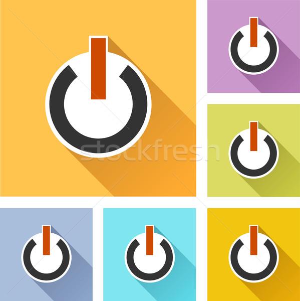 власти иконки иллюстрация красочный набор тень Сток-фото © nickylarson974