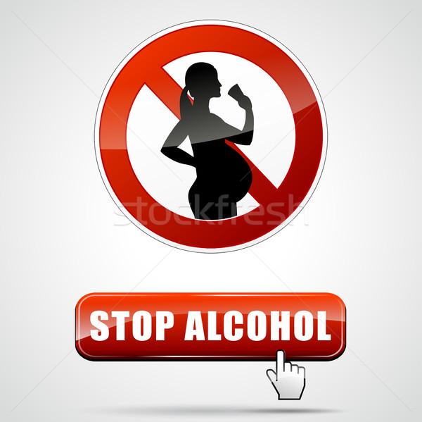 Stop alkohol illusztráció terhes nő absztrakt gyermek Stock fotó © nickylarson974