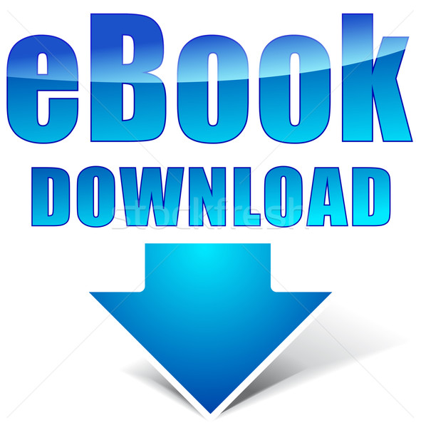 Vector ebook icono de descarga blanco Internet azul Foto stock © nickylarson974