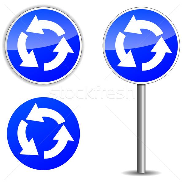 Vector rotonde Blauw wegwijzer witte weg Stockfoto © nickylarson974