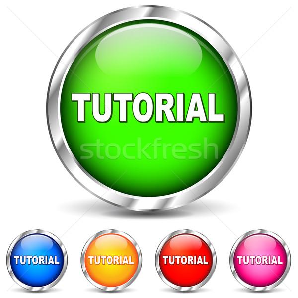 Vettore tutorial icone cromo bianco segno Foto d'archivio © nickylarson974