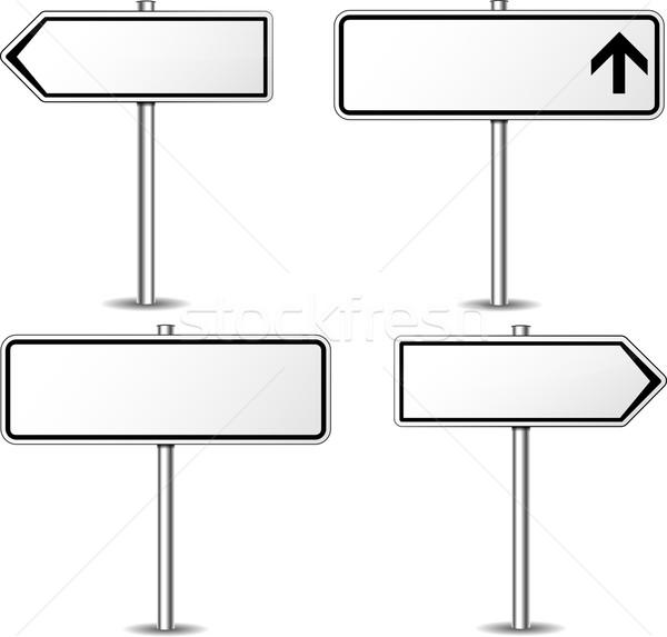 Stok fotoğraf: Vektör · beyaz · tabelasını · ayarlamak · sokak · arka · plan