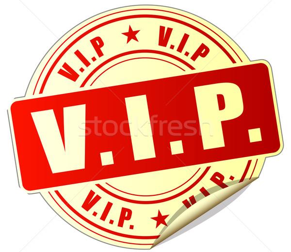 Vip vermelho adesivo ilustração branco Foto stock © nickylarson974