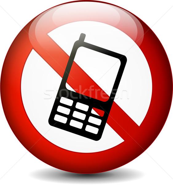 Nie telefonu podpisania ilustracja biały komórkowych Zdjęcia stock © nickylarson974