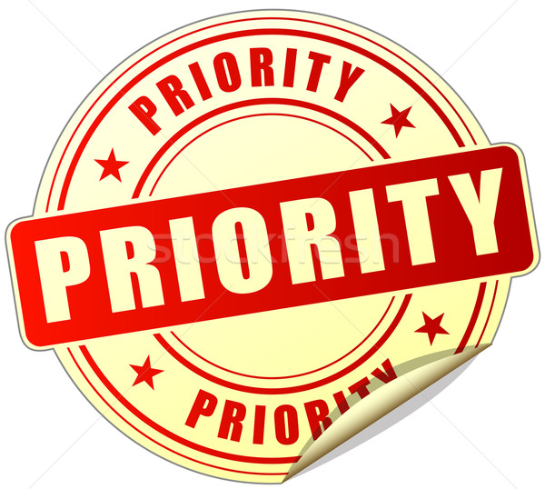 Prioriteit Rood sticker illustratie witte Stockfoto © nickylarson974