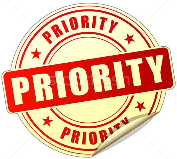 Prioridade vermelho adesivo ilustração branco Foto stock © nickylarson974