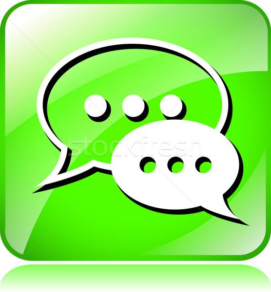 зеленый жить чате икона иллюстрация белый Сток-фото © nickylarson974