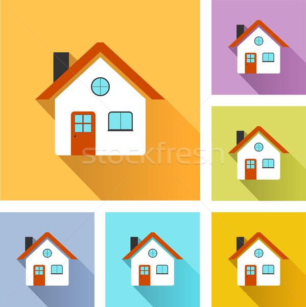 Ev simgeler örnek renkli ayarlamak dizayn Stok fotoğraf © nickylarson974