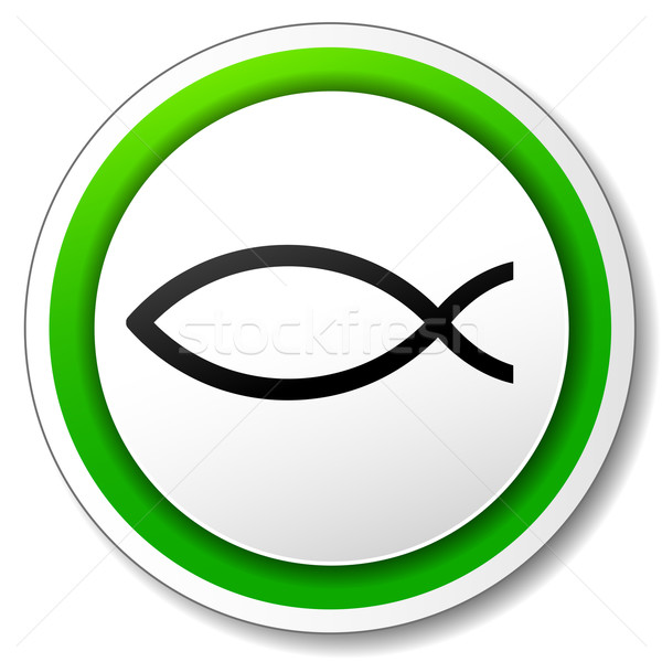 Vektör İsa balık ikon beyaz yeşil Stok fotoğraf © nickylarson974
