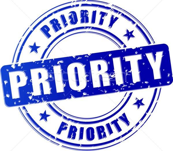 Prioriteit Blauw stempel icon illustratie model Stockfoto © nickylarson974