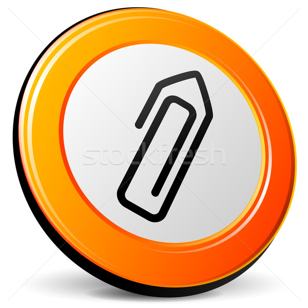 Paperclip icon illustratie 3D ontwerp oranje Stockfoto © nickylarson974