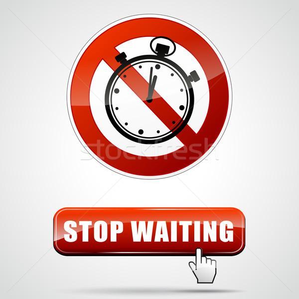 Arrêter attente illustration signe design Photo stock © nickylarson974