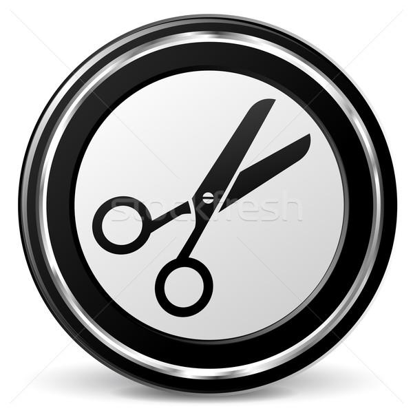 Olló ikon illusztráció fekete ezüst haj Stock fotó © nickylarson974