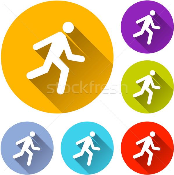 Ejecutar iconos seis colorido hombre deporte Foto stock © nickylarson974