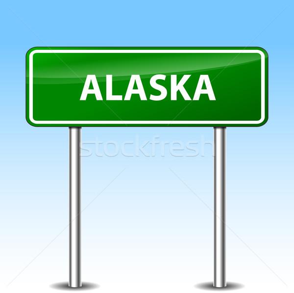 Illustration Alaska vert métal panneau routier route Photo stock © nickylarson974